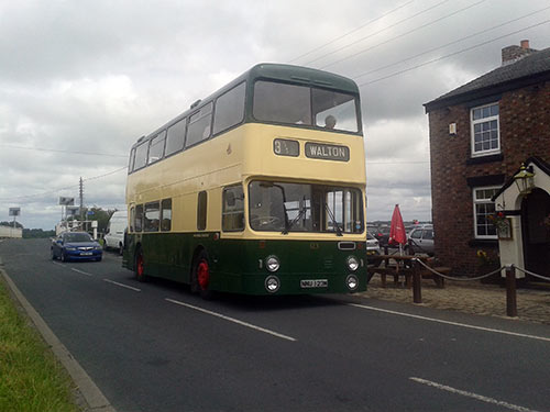 123 outside the Farmers Arms, Burscough, operating the 12:45 real ale circular